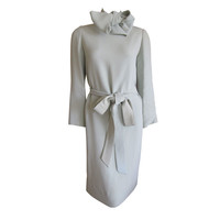Norell - Luxurious silk dress with matching bow and Belt from Norell