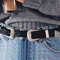 leather belts Women Geometric metal button belt buckle waist belt Vintage casual black luxury accessories