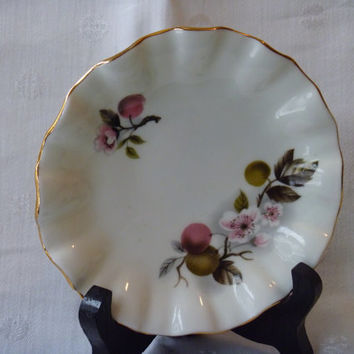Bone China Fluted Trinket Dish Cherry Blossoms Royal Dover Soap Dish Butter Pat Dish