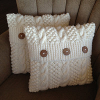 Blackberry Cables hand knit 16 x 16 pillow cover