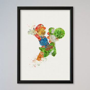 Super Mario Yoshi Poster Watercolor Art Giclee Print Art Picture Supermario painting