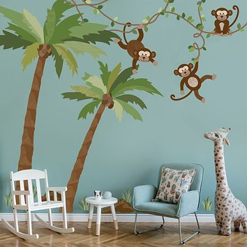 Large Monkey Wall Decals on Vines Palm Tree Wall Decals Nursery Wall Decals, Peel and Stick Eco Friendly Wall Stickers