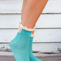 Turquoise Crocheted Lace Top Ankle Socks