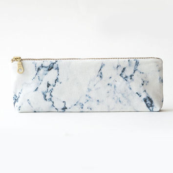 White marble organic coton pencil case zipper by AuxGrandsRemedes
