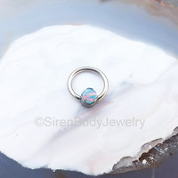 Daith piercing jewelry opal septum ring conch hoop earring 16g captive bead ring helix hoops 4mm prong opal lip rings ring interchangable