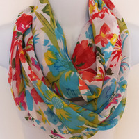 Tropical Flower Infinity Scarf Floral Scarves Spring Circle Scarf Fashion Scarves Womens Circle Scarf Chiffon Scarf