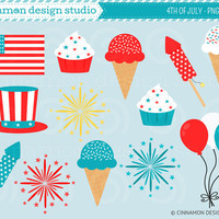 INSTANT DOWNLOAD - 4th of July - Clip Art Set - Personal and Commercial Use Clipart - No Credit Required