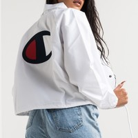 Champion Women's Cropped Lightweight Water Resistant Back Logo Coach Jacket in White, Black