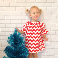 Toddler Christmas Dress Girls Red White Chevron Dress Baby Christmas Clothes Boutique Clothing By Lucky Lizzy's