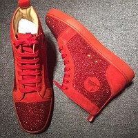 Christian Louboutin CL Rhinestone Style #2105 Sneakers Fashion Shoes Online