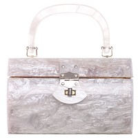 Vtg 60s LANCEL White Mother of Pearl Box Hand Mini Bag