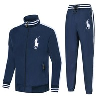 Polo Ralph Lauren 2018 new plus velvet men's warm windbreaker sports running clothes two-piece Blue
