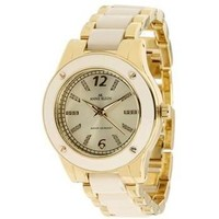Anne Klein Women's 109180IVGB Gold-Tone and Ivory Plastic Bracelet Watch