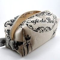 Eiffel Tower French Script Makeup Bag, Cream Neutral Canvas, Zippered, Travel and On the Go, Under 10, Chic and Cute, Cosmetics