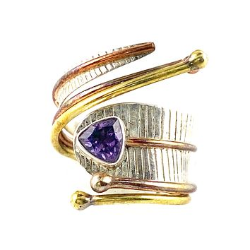 Amethyst Trillion Three Tone Sterling Silver Adjustable Wrap Ring