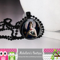 Night Angels Necklace Night Angels Pendant Marble Jewelry Glass Cabochon Bezel Pendant Gifts for Her Gifts for Him