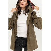 Fully Lined Plaid Hooded Anorak