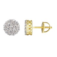 Solitaire Round Prong Set 14k Gold Finish Silver Earrings