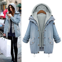 Light Blue Two Piece Denim Jacket Hooded Vest