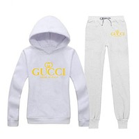 GUCCI Trending Casual Woman Print Hoodie Top Sweater Pants Trousers Set Two-piece Sportswear G