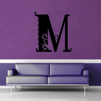 Floral Monogram - M - Wall Decal$8.95