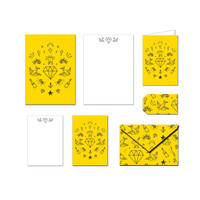 Printable Stationery Set - Yellow Old School Tattoo - Notes / Card / Gift Tag / Envelope