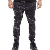Cracked Marble Joggers - Black