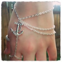 Handmade Anchor Ring Bracelet