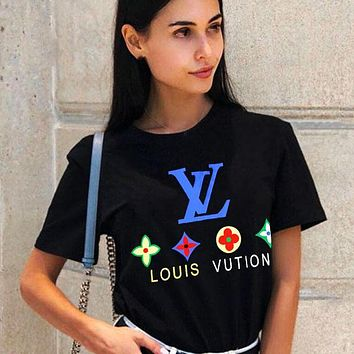 Louis Vuitton LV  Women Men FLower Print Colorful Print Tee Shirt Top