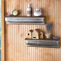 """Galvanized and Wooden Wall Shelf 24"""" or 30"""" Farmhouse Rustic Country Decor"""