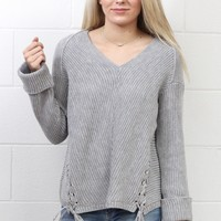 Knit V-neck Sweater w/ Drawstring Details {Grey}
