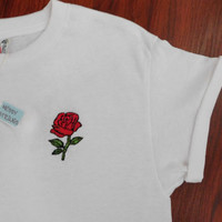 Single Rose Embroidered/Stitched T-shirt