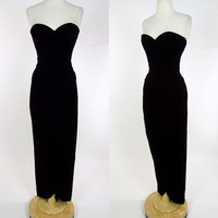 1980s black velvet Victor Costa gown, strapless wiggle dress, designer, wrap skirt, cocktail formal event gown, Medium