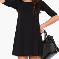 Fashion Black Half-Sleeve Cotton Mini Dress
