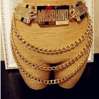 Fashion personality sexy vintage gold mos letter tassel big belly chain metal wide belt cool punk waist belt for feminino