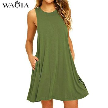 Summer Dress Women Plus Size Dress Sleeveless Boho Style Short Beach Dress Sundress Casual Shift Dresses Vestidos