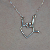 I Love You Symbol - Sign Language - Sterling Silver