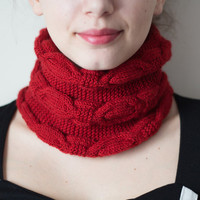 Knitted Neck Warmer, Knitted Scarf, 2 in 1 Hat and Neck Warmer, 2 in 1 Neck Warmer and Hat, Red Neck Warmer, Knit Neck Warmer, Knit Scarf