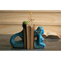 Turquoise Ceramic Mermaid Bookends Kalalou Bookends Bookends Home Decor