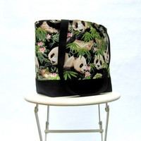 Panda bear tote bag shoulder bag with black canvas bottom