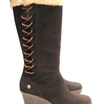 UGG BOOTS / DARK BROWN / LEATHER FELICITY / SIZE 5 WOMAN  **NEW IN BOX**