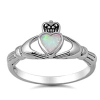 .925 Sterling Silver White Opal Claddagh Ring CZ size 4-10