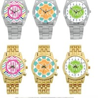 Monogrammed Boyfriend Watch in Gold plated and Stainless Steel at The Pink Monogram