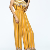 Casual Strapless Flounce Printed Striped Wide-Leg Jumpsuit