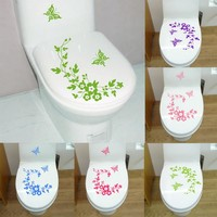 New Butterfly Flower bathroom wall stickers home decor home decoration wall decals for toilet decal sticker decor
