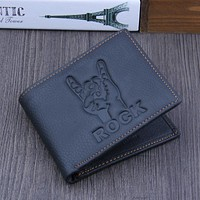 Men Rock On Leather Wallet