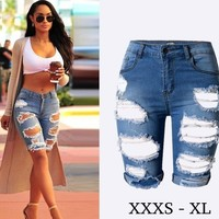 Denim Shorts Elastic Blue Boyfriend Jean Shorts Women's Jean Shorts Ripped