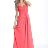 Beautifly Coral Pearl Chiffon Sweetheart Bridesmaid Evening Ball Gown Party Dress