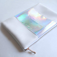 Leather clutch Leather bag Holographic and white Leather clutch pouch Handbag ipad sleeve Purse