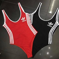 Adidas Originals Popular Women Vest Type Three Stripes One Piece Piece Bikini Swimsuit